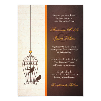 "Fanciful Bird Cage - Autumn Orange Wedding 5"" X 7"" Invitation Card"