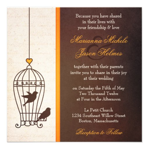 Fanciful Bird Cage - Autumn Orange Wedding Personalized Invites