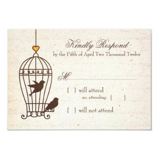 "Fanciful Bird Cage - Autumn Orange Wedding RSVP 3.5"" X 5"" Invitation Card"