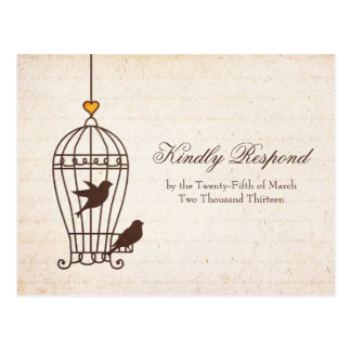 Fanciful Bird Cage - Autumn Orange Wedding RSVP Post Card