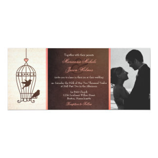"Fanciful Bird Cage Chocolate & Pink Photo Wedding 4"" X 9.25"" Invitation Card"