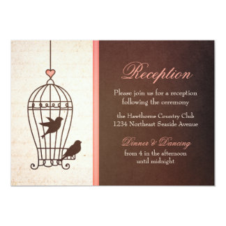 "Fanciful Bird Cage - Chocolate & Pink Reception 5"" X 7"" Invitation Card"