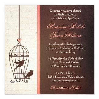 Fanciful Bird Cage - Chocolate & Pink Wedding 13 Cm X 13 Cm Square Invitation Card