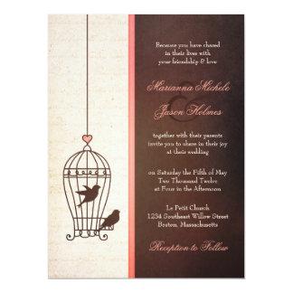 Fanciful Bird Cage - Chocolate & Pink Wedding 17 Cm X 22 Cm Invitation Card