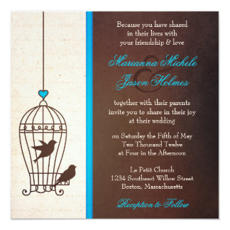 Fanciful Bird Cage - Chocolate & Teal Blue Wedding 13 Cm X 13 Cm Square Invitation Card
