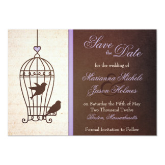 "Fanciful Bird Cage Lavender & Brown Save the Date 5"" X 7"" Invitation Card"