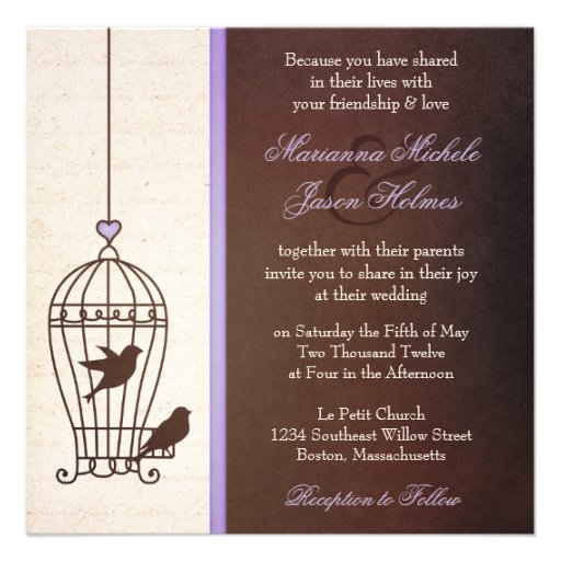 Fanciful Bird Cage - Lavender & Brown Squa Wedding Custom Invitation