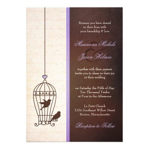 Fanciful Bird Cage - Lavender & Brown Wedding Custom Invite