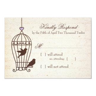 Fanciful Bird Cage Lavender & Brown Wedding RSVP 9 Cm X 13 Cm Invitation Card