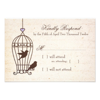 Fanciful Bird Cage Lavender Brown Wedding RSVP Personalized Invites