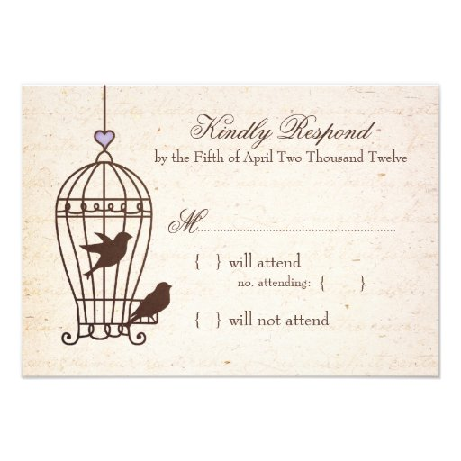 Fanciful Bird Cage Lavender & Brown Wedding RSVP Personalized Invites