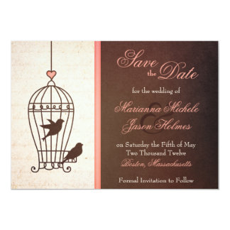 "Fanciful Bird Cage Pink & Chocolate Save the Date 5"" X 7"" Invitation Card"