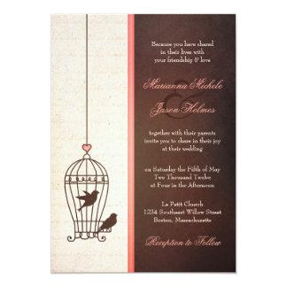 Fanciful Bird Cage - Pink & Chocolate Wedding 13 Cm X 18 Cm Invitation Card