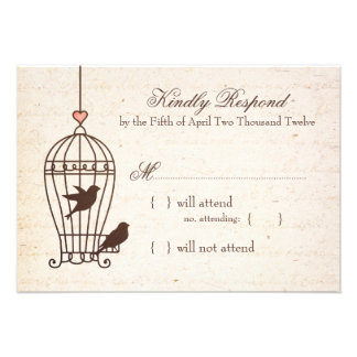 Fanciful Bird Cage - Pink Chocolate Wedding RSVP Announcements