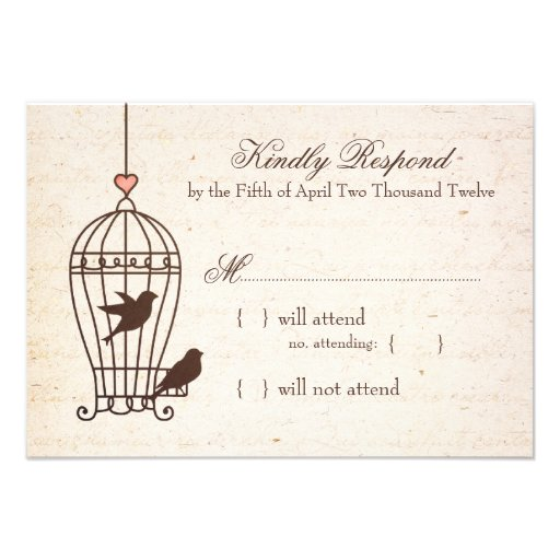 Fanciful Bird Cage - Pink & Chocolate Wedding RSVP Announcements