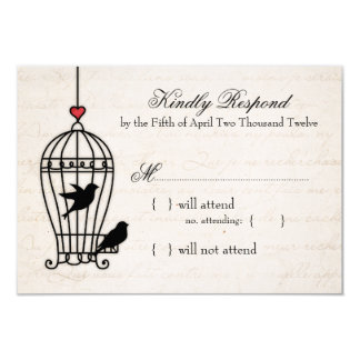 Fanciful Bird Cage & Romantic Heart Wedding RSVP 9 Cm X 13 Cm Invitation Card