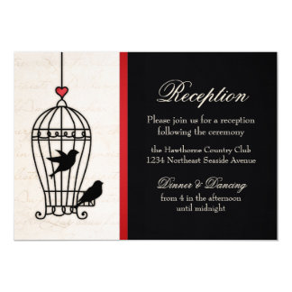 "Fanciful Bird Cage & Romantic Red Ribbon Reception 5"" X 7"" Invitation Card"