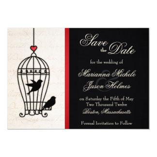 "Fanciful Bird Cage & Romantic Ribbon Save the Date 5"" X 7"" Invitation Card"