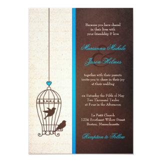 Fanciful Bird Cage - Teal & Chocolate Wedding 13 Cm X 18 Cm Invitation Card