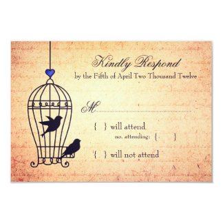 Fanciful Bird Cage with Blue Heart Wedding RSVP 9 Cm X 13 Cm Invitation Card