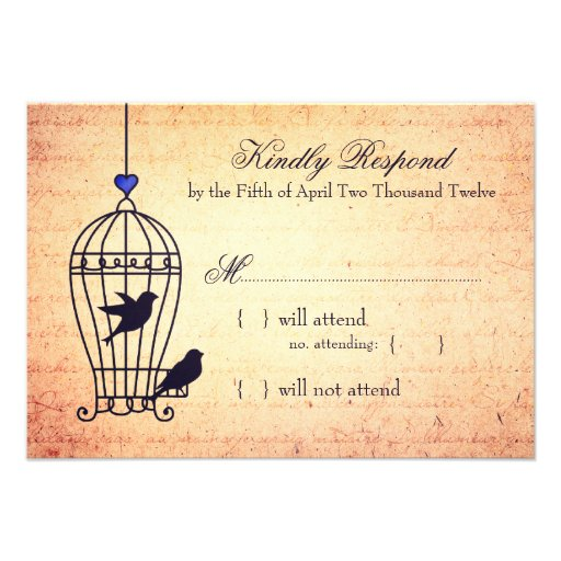 Fanciful Bird Cage with Blue Heart Wedding RSVP Custom Announcement