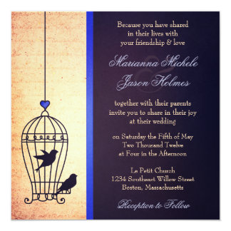Fanciful Bird Cage with Blue Ribbon Square Wedding 13 Cm X 13 Cm Square Invitation Card