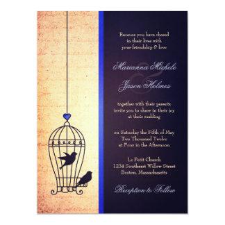 Fanciful Bird Cage with Blue Ribbon Wedding 17 Cm X 22 Cm Invitation Card