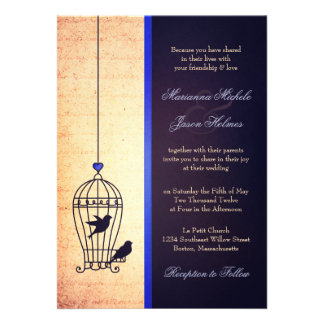 Fanciful Bird Cage with Blue Ribbon Wedding Custom Invitation
