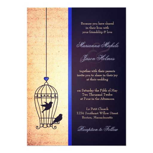 Fanciful Bird Cage with Blue Ribbon Wedding Custom Invitation