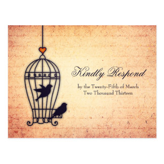 Fanciful Bird Cage with Gold Heart Wedding RSVP Postcard