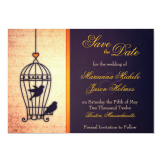 "Fanciful Bird Cage with Gold Ribbon Save the Date 5"" X 7"" Invitation Card"