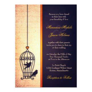 Fanciful Bird Cage with Gold Ribbon Wedding 17 Cm X 22 Cm Invitation Card
