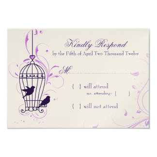 Fanciful Bird Cage with Swirls Aubergine RSVP 9 Cm X 13 Cm Invitation Card
