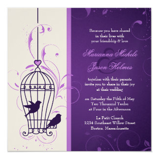 Fanciful Bird Cage with Swirls Aubergine Wedding 13 Cm X 13 Cm Square Invitation Card