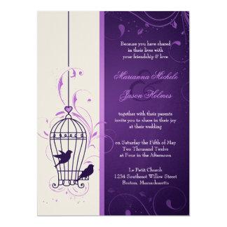 "Fanciful Bird Cage with Swirls Aubergine Wedding 6.5"" X 8.75"" Invitation Card"