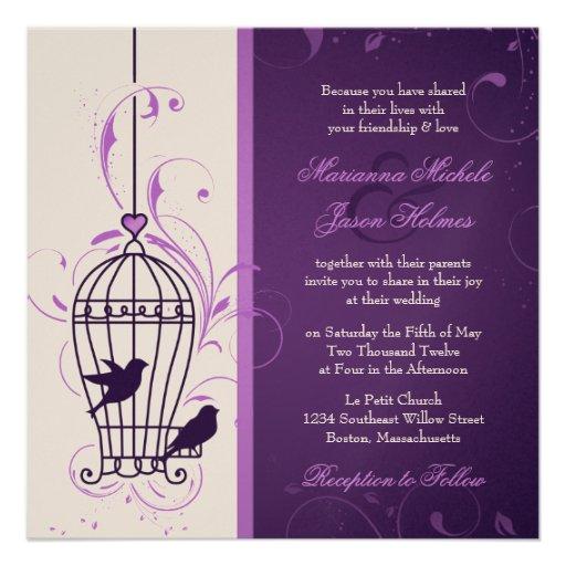 Fanciful Bird Cage with Swirls Aubergine Wedding Custom Invitations