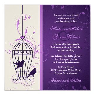 "Fanciful Bird Cage with Swirls Aubergine Wedding 5.25"" Square Invitation Card"