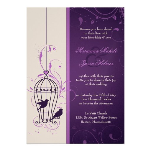 Fanciful Bird Cage with Swirls Aubergine Wedding Personalized Invitations