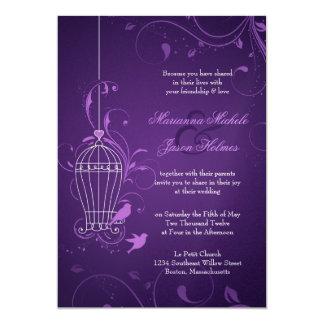 "Fanciful Bird Cage with Swirls Aubergine Wedding 5"" X 7"" Invitation Card"