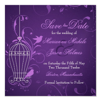 "Fanciful Birdcage & Swirls Aubergine Save the Date 5.25"" Square Invitation Card"