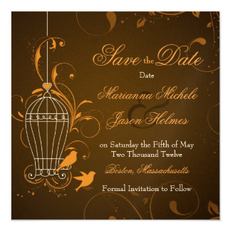 "Fanciful Swirl Birdcage Orange Brown Save the Date 5.25"" Square Invitation Card"