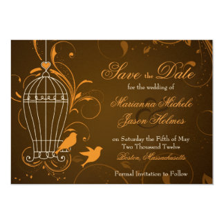 "Fanciful Swirl Birdcage Orange Brown Save the Date 5"" X 7"" Invitation Card"