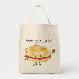 Fancy a Cake Funny Victoria Sponge Cake Slogan Art Tote Bag