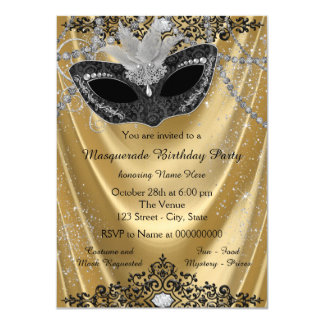 """Fancy Black and Gold Masquerade Party 4.5"""" X 6.25"""" Invitation Card"""
