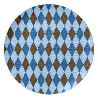 Fancy Blues Argyle Party Plates