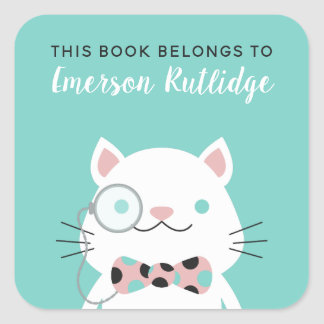 Fancy Cat | Turquoise This Book Belongs To Square Sticker