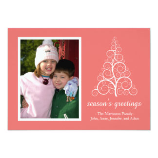 Fancy Christmas Tree Card (Coral)