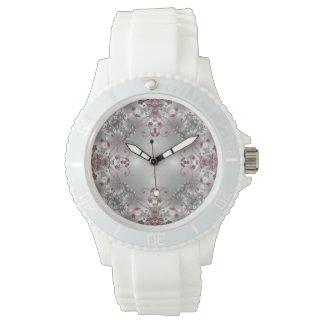 Fancy - Elegant Flowers - Red + Silver - Watch