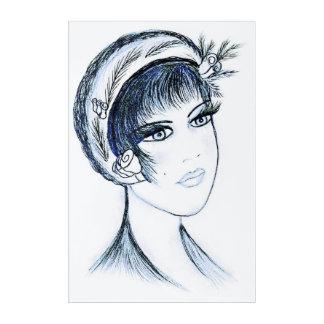 Fancy Flapper in Blues and Black Acrylic Wall Art