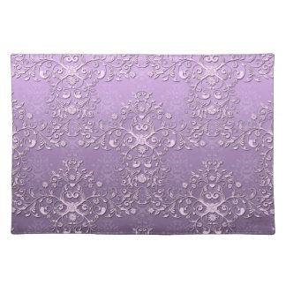 Fancy Floral Lavender Purple Damask Pattern Placemat